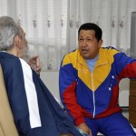 Handout file photo shows Venezuela's President Chavez being visited by Cuba's revolutionary leader Fidel Castro at a hospital in Havana