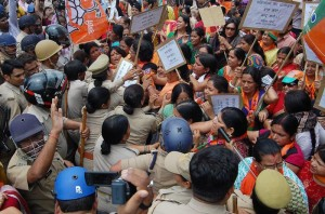 Bhartya Janta party workers protest over gang rape of two cousins