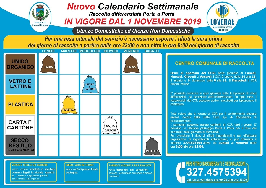 calendario differenziata Capo d'Orlando